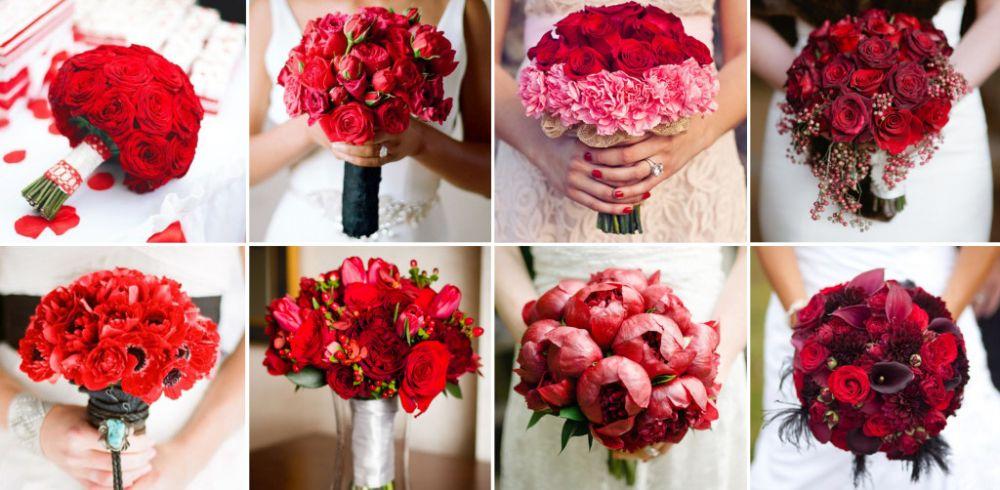 Свадебный букет из красных пионов