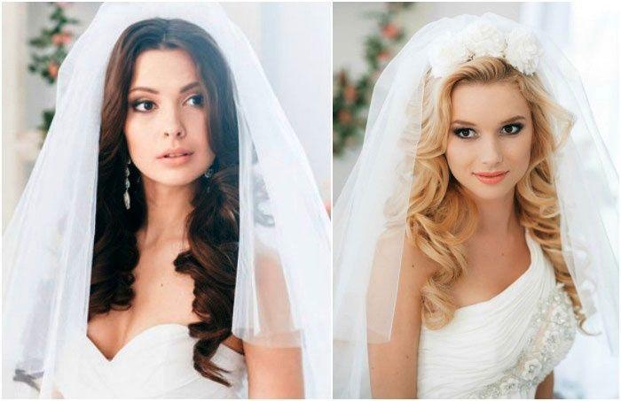 Свадебные прически кудри с фатой