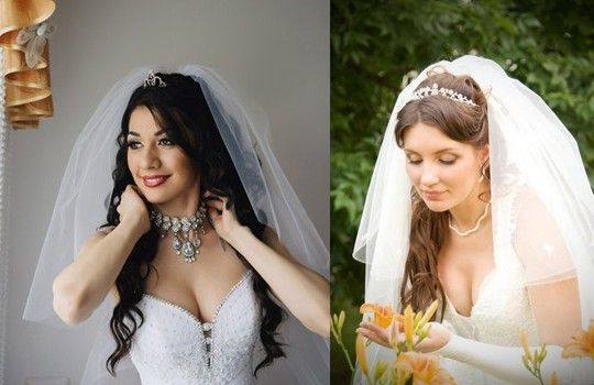 Свадебные прически с короткой челкой и фатой