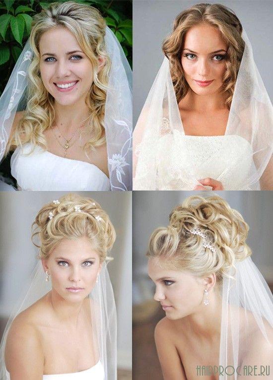 Причёски на свадебный день с использованием фаты
