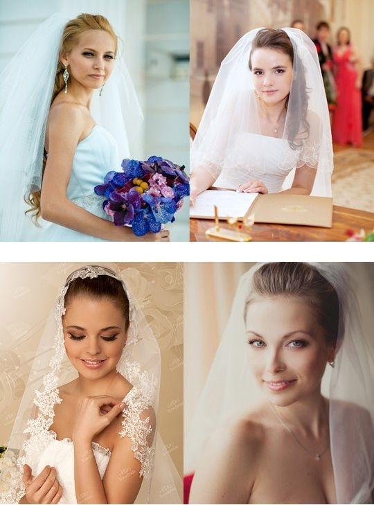 Свадебные прически с длинной фатой и челкой