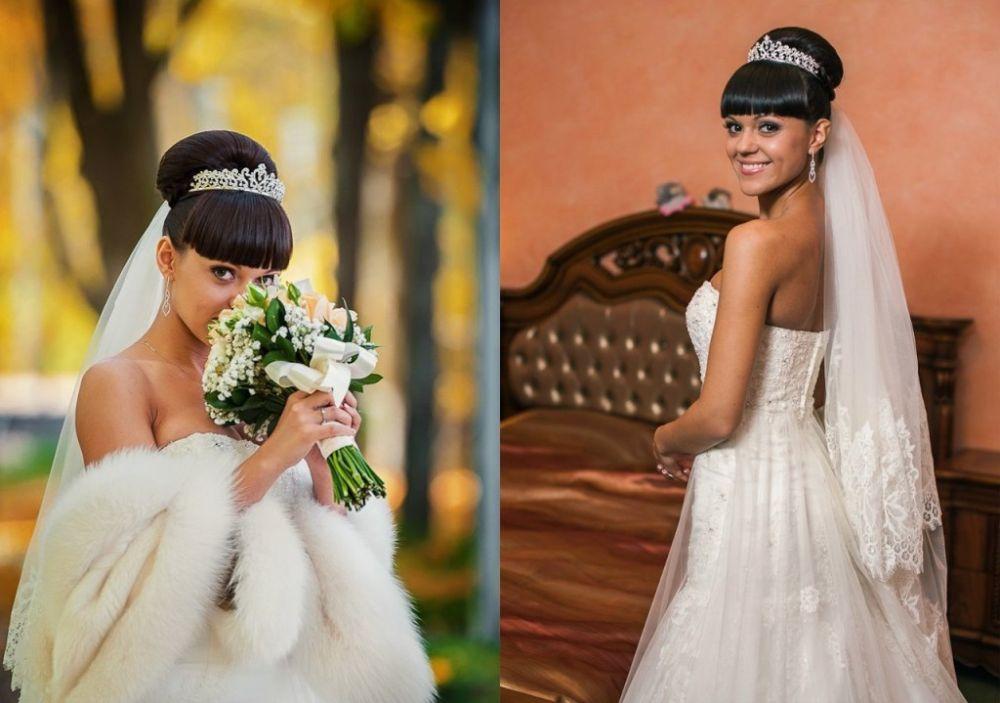 Свадебные прически брюнетки с челкой фото