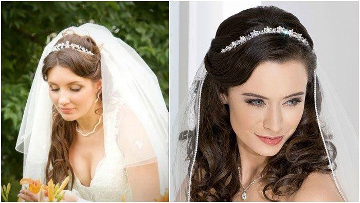 Причёска невесты на средние волосы с фатой фото