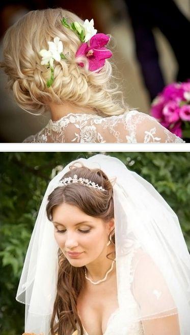 свадебные прически колосок на бок