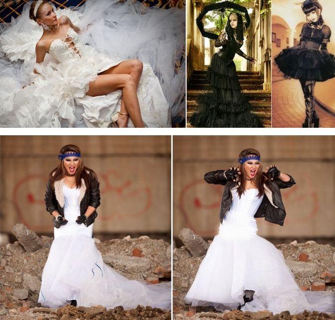 Байкерские свадебные платье