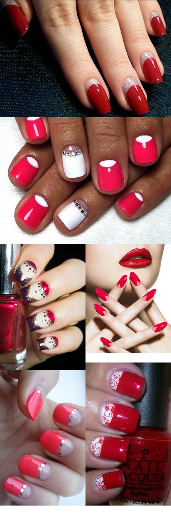 Дизайн ногтей на красном фоне фото