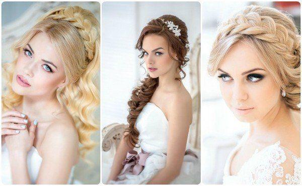 Прическа на свадьбу с косой на средние волосы