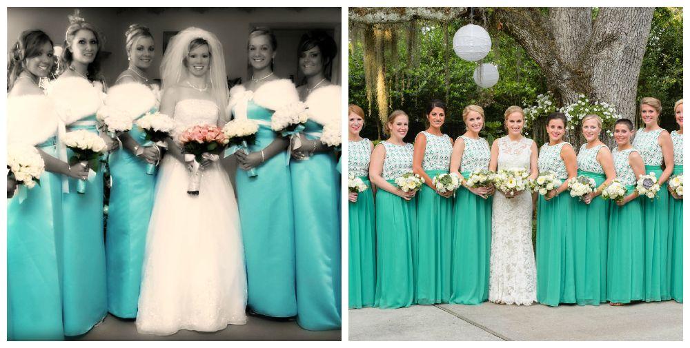 Бирюзовые платья на свадьбу подруге фото