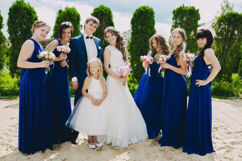 Подружки невесты в голубых х фото