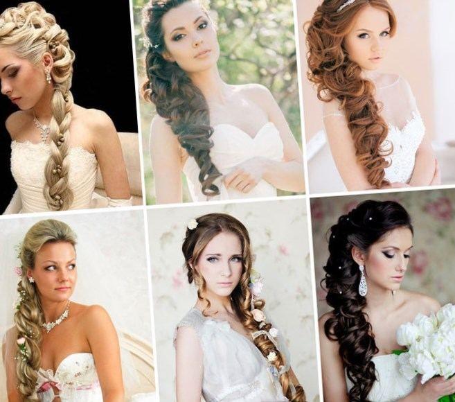 Прически гостье на свадьбу на бок на средние волосы