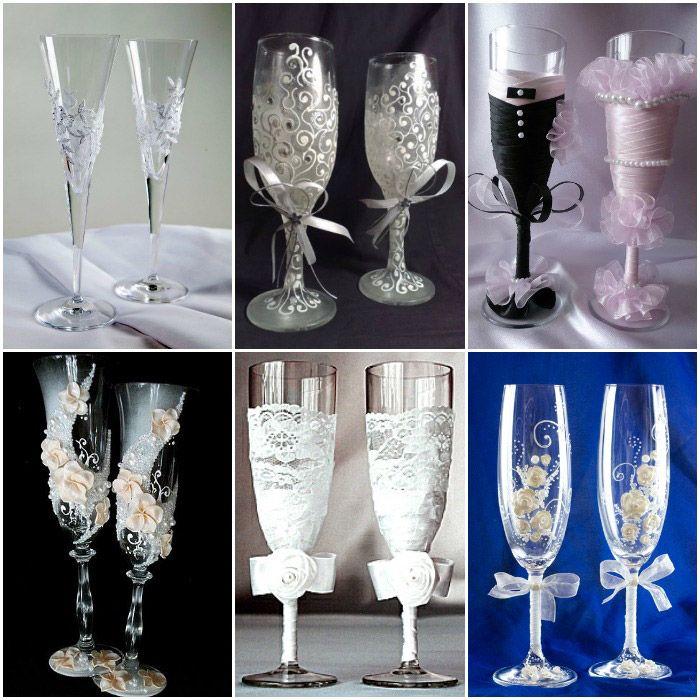 Красивое украшение свадебных бокалов в любом стиле - Svadbal.ru