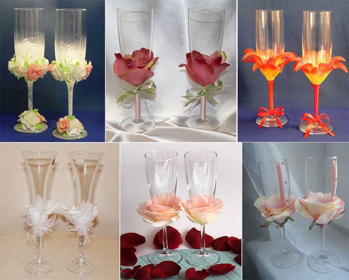 Как можно своими руками украсить бокалы 123