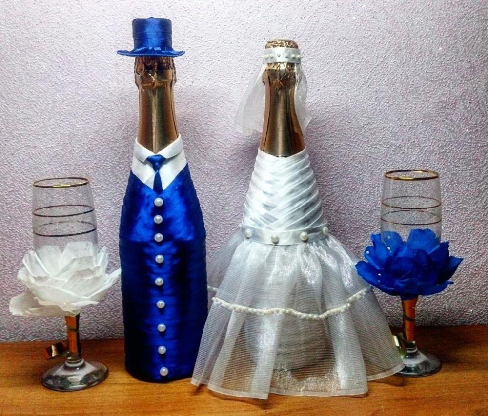Бутылка шампанского жених и невеста на свадьбу своими руками 10