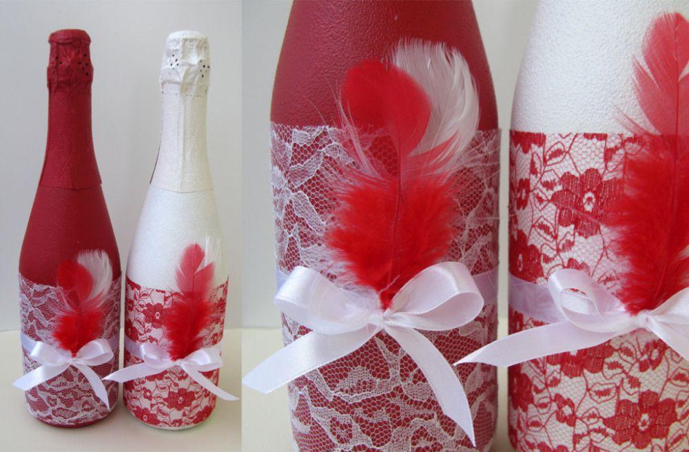 Своими руками оформление свадебных бутылок