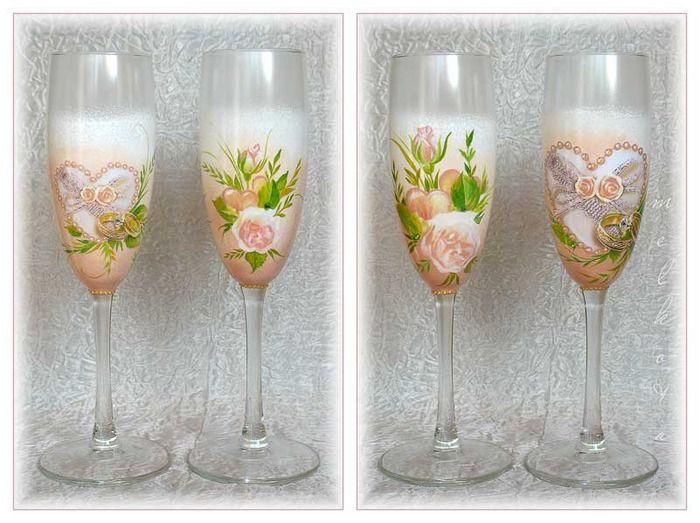 Бокал шампанского декупаж - Декор свадебных бокалов своими руками: декупаж и роспись по