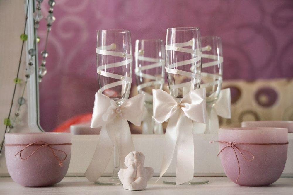 Оформление свадебных бокалов своими руками с фото 926