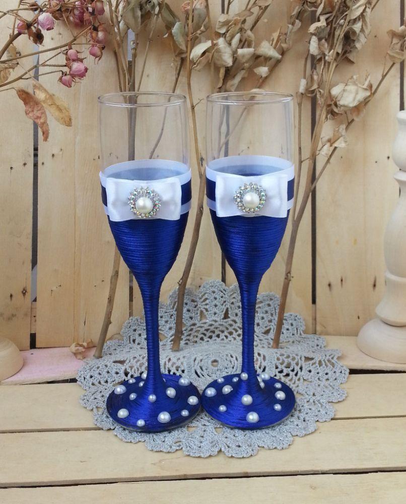 Свадебных бокалов своими руками синий 78