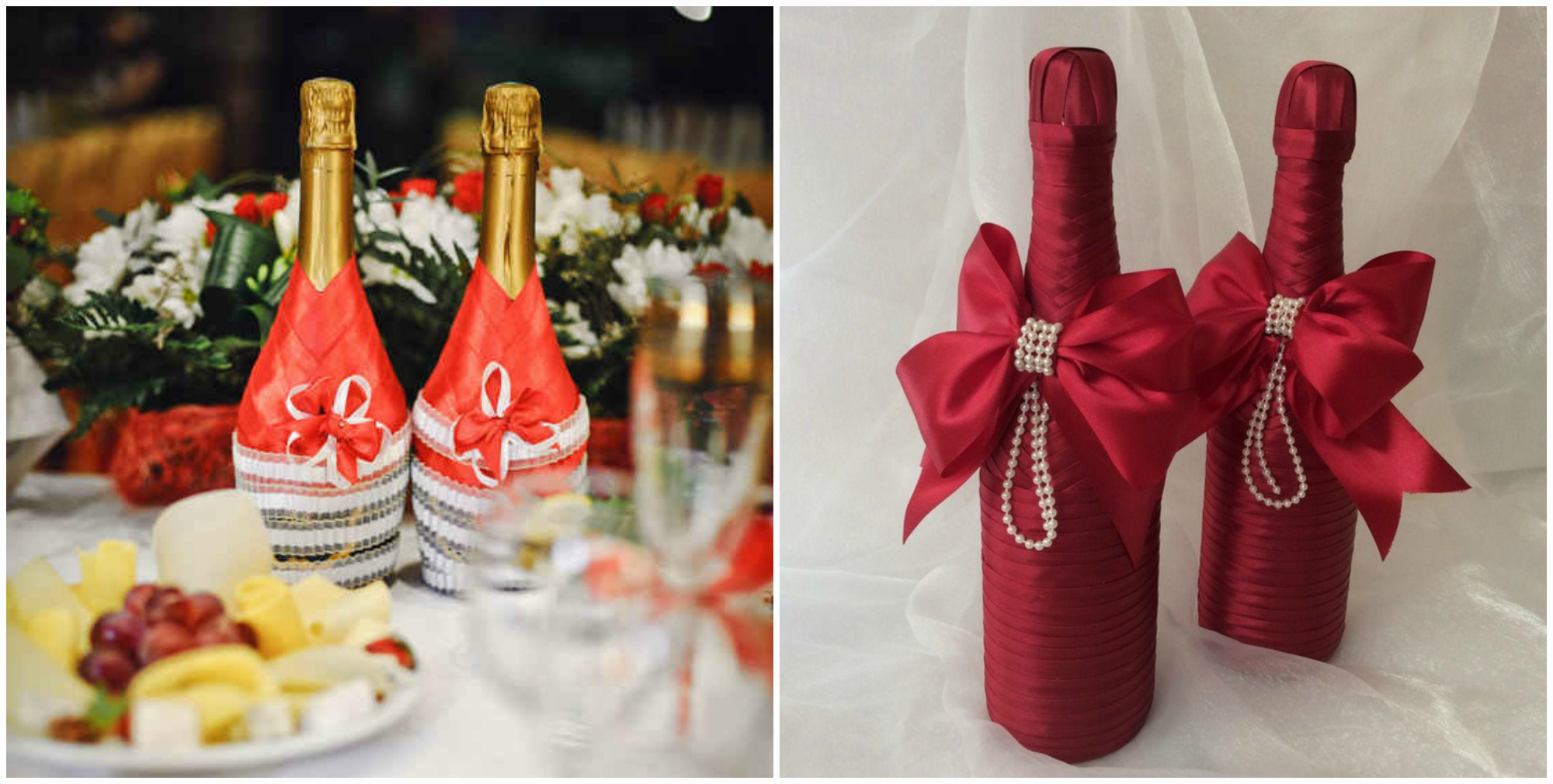 Как украсить свадебную бутылку шампанского своими руками фото 983