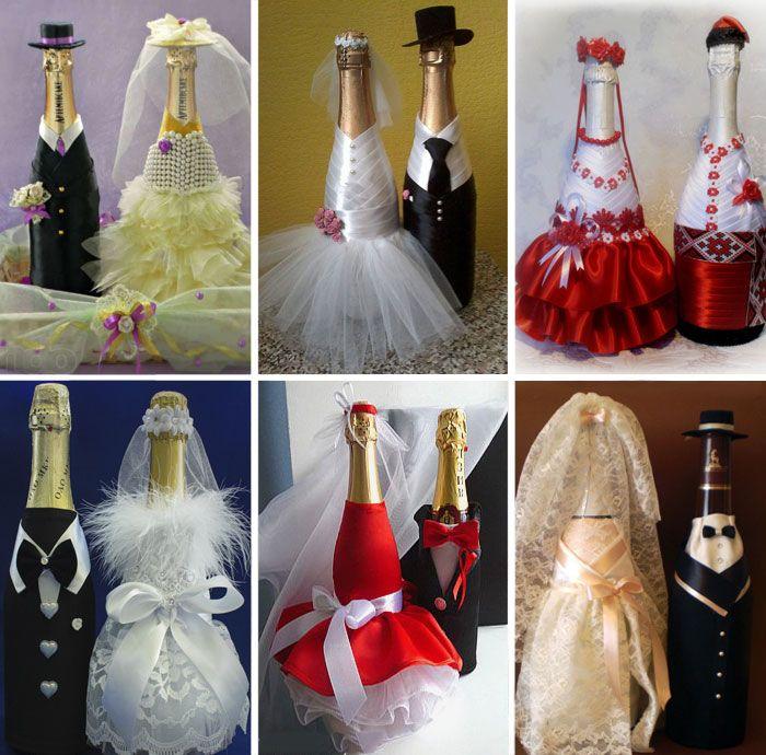 Красивые свадебные бутылки шампанского своими руками 11