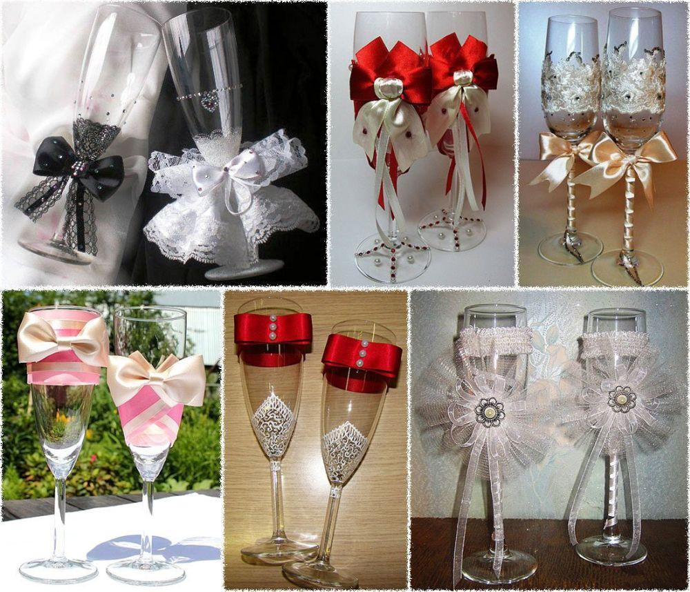 Как украсить стаканы на свадьбу своими руками фото 1
