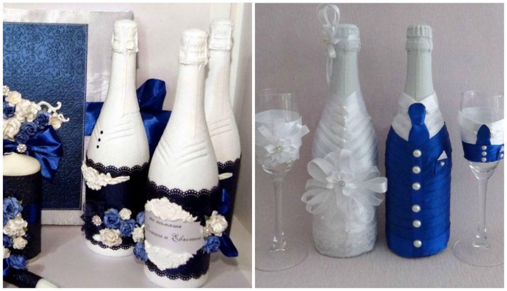 Как своими руками украсить свадебную бутылку 76