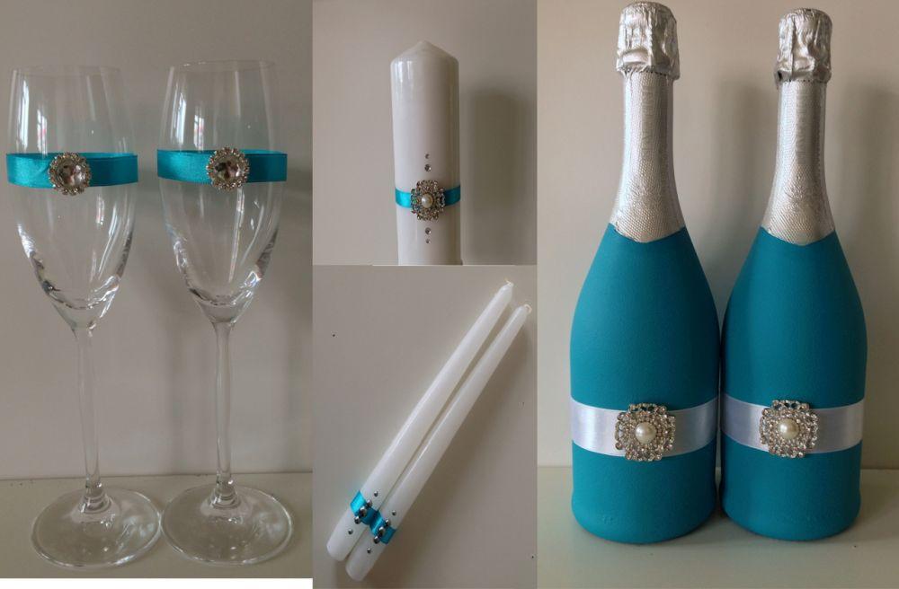 Оформление свадебных бокалов и бутылок своими руками, лепим, творим, малюем 96